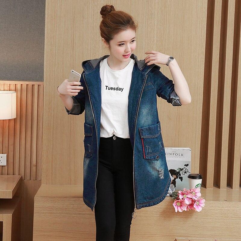 M-3XL 2017 Outono Nova Moda Vintage Ripped Jeans de Grandes Dimensões Jaqueta Casaco Feminino Com Capuz Longo Jaquetas Jeans Para As Mulheres 8309