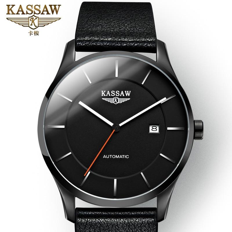 KASSAW Men Watch Mechanical Hollow Luxury Fashion Brand Leather Man Sport Watches Mens Automatic Relogio Masculino