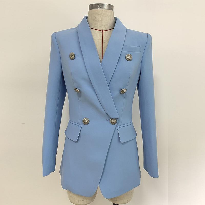 Nieuwe Sky Blue Blazer Jas Vrouwen 2019 Professionele Pak Klassieke Double Breasted Sliver Knop Sjaal Kraag Office Dames Blazer-in Blazers van Dames Kleding op  Groep 3