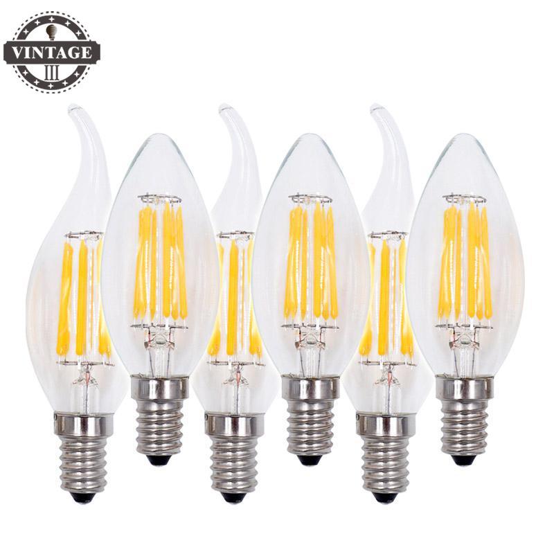 VintageIII Bombillas Edison Cob Antique E14 C35 Candle Fashion Art 6pcs Led Filament Bulb Lampada Light 220v2w 4w 6w 360 Degree