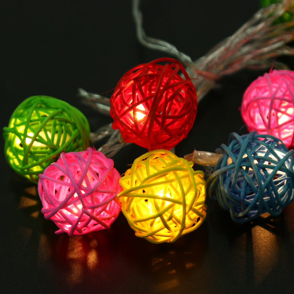 10 LED Warm White Rattan Ball Decoration Lighting Garland Party Wedding Fairy String Lights Home Decoration Lamp Dry Battery