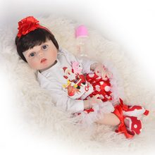 55 cm Full Body Silicone Reborn Dolls Babies blue/brown eyes Ethnic Reborn Baby Girl Princess with Red hair band For Kids toy(China)