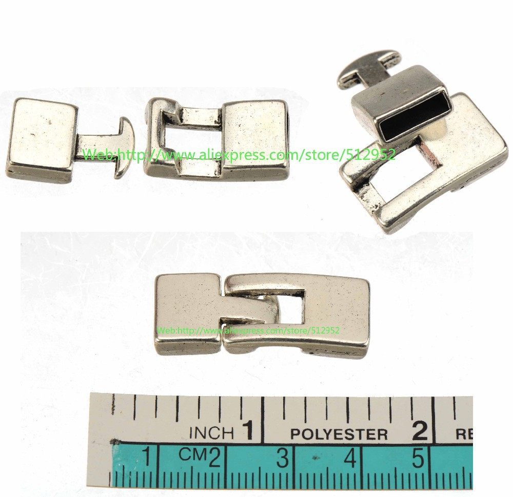Diy Clasps For Leather Cord Bracelets Bangles Hooks Toggles 10mm Flat Hole Antique Silver Metal Jewelry Findings 32*12mm 10pcs