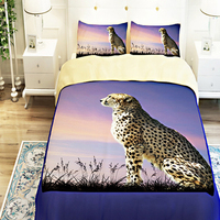 3D Oil Leopard Bed Sheet Sets,3/4pc duvet cover without filler,100% Polyester animal Leopard Tiger Bedding Sets Twin King Queen