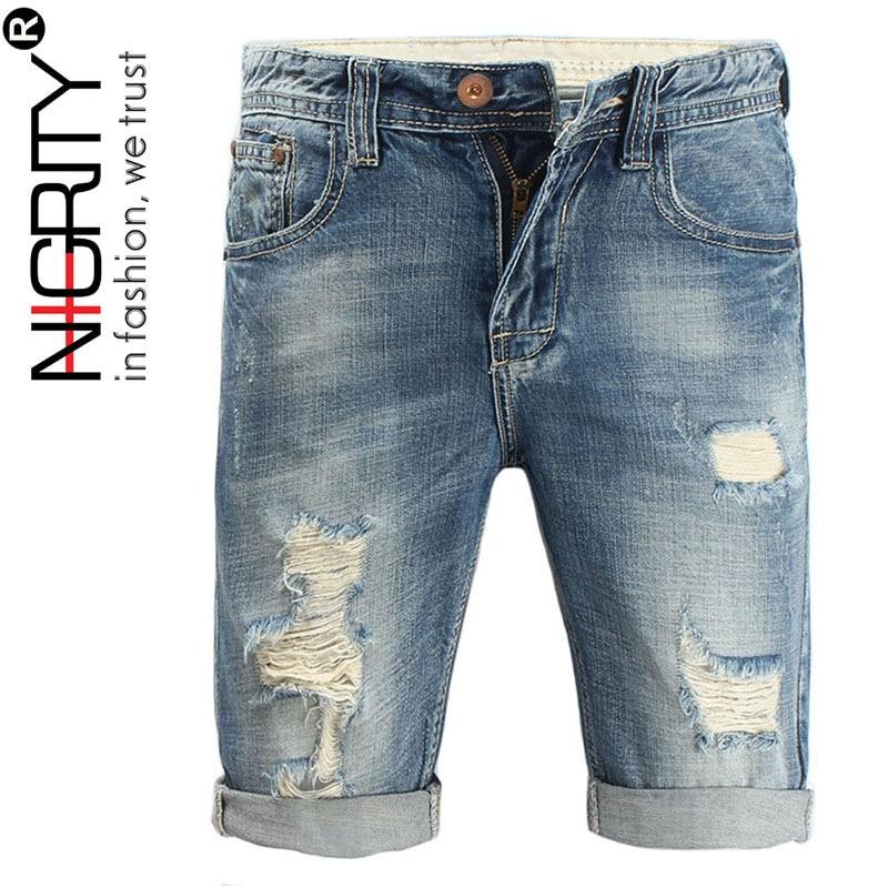 NIGRITY 2019 New Fashion Mens Ripped Short   Jeans   Brand Clothing Bermuda Summer 100% Cotton Shorts Denim Shorts Big Size 27-40