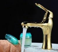 Miễn phí Vận Chuyển Soild vàng đồng kết thúc tắm vòi nước cao cấp thiên nga vàng lưu vực hình dạng tap độc lever torneira banheiro BF325