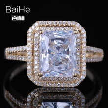BAIHE Solid 14K Yellow Gold(AU585) 5.9CT Certified Genuine AAA Graded Cubic Zirconia Cushion Flawless Wedding Women Trendy Ring baihe solid 14k yellow gold au585 about 0 30ct f g si square cut 100% genuine natural diamonds engagement trendy gift ring