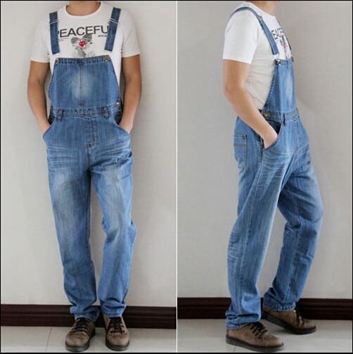 ФОТО S-4XL 2015 spring light color taper plus size one piece trousers denim bib pants male spaghetti strap pants