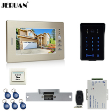JERUAN 7 pulgadas teléfono video de la puerta sistema de intercomunicación key touch teclado de contraseña RFID impermeable a estrenar cámara + control remoto desbloquear