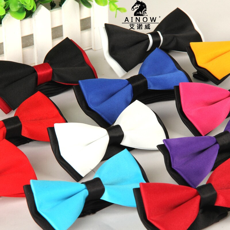SHENNAIWEI Men's Wedding Dress Polyester Bow Ties Silk Jacquard Leisure Monochrome Double Bow Tie Factory Wholesale