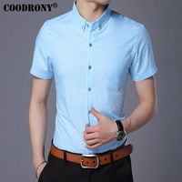 COODRONY Cotton Casual Shirt Men Brand Clothing 2017 Summer New Arrival Pure Color Short Sleeve Slim