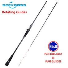 SEEKBASSJanpa canne à pêche, PE, 0.6 à 1.2 #, solide, siège de moulinet Fuji, guides, en eau salée