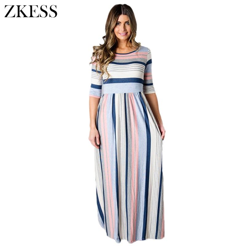 Zkess Women Multicolor Striped Half Sleeve Fashion Casual Maxi Dress Color Block Pleated Long Dresses Side Zipper LC61660
