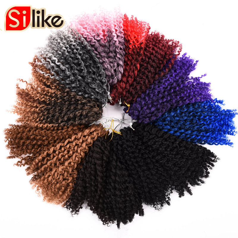 Silike 8 inch Ombre Marlybob Crochet Braids 3pcs/pack Afro Kinky Twist Hair 90g/pack Synthetic Crochet Hair Extensions