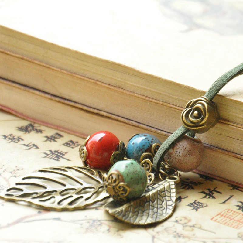 Kobiety skórzane naszyjniki róża kwiat wklęsły liść urok liście wisiorki Choker ceramiczne koraliki PU przewód akcesoria łańcuszki do biżuterii