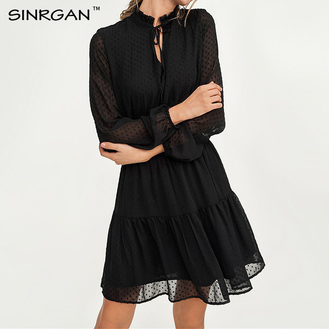 SINRGAN Black lace up hollow out mini dress women vestidos Long sleeve elastic waist party dress