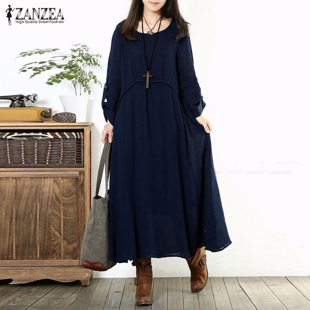 Zanzea 2017 otoño mujeres de gran tamaño retro larga dress casual vintage loose o cuello de manga larga sólido maxi dress vestidos plus tamaño