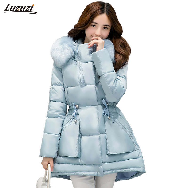 1PC Winter Jacket Women Winter Coat Women Fur Hooded Parka Thick Cotton Coats Womens Winter Jackets Abrigos Mujer Invierno Z1552 new winter jacket women print fur collar long parka cotton wadded maxi coats warm hooded jackets winter coat abrigos mujer c3500