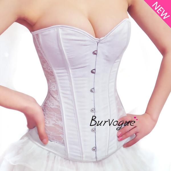 Burvogue espartilho nupcial sexy lace espartilho branco casamento de noiva push up overbust bustier aço desossado cintura cincher corset top