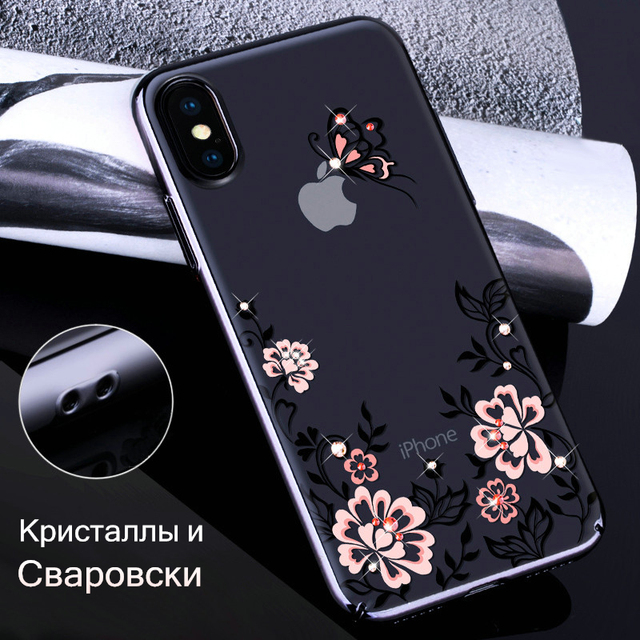 ab3ff4bb7 KAVARO for iPhone X 10 Cove Crystals from SWAROVSKI Glitter Hard Plated  Floral Luxury Diamond Case for iPhone X Case Coque Funda