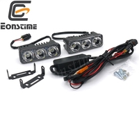 Eonstime 12V 24V DRL 3LED 6W Car Waterproof Daytime Running Light Auto Fog Lamp Aluminum Lens