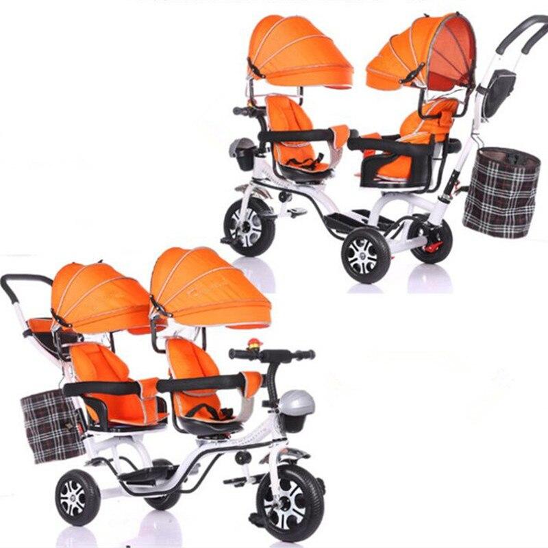 Nouveau 2 enfants Tricycle jumeaux bébé vélo jouets pour enfants enfants jouets Double siège Tricycle Tandem Trike avec pli pédale Juguetes