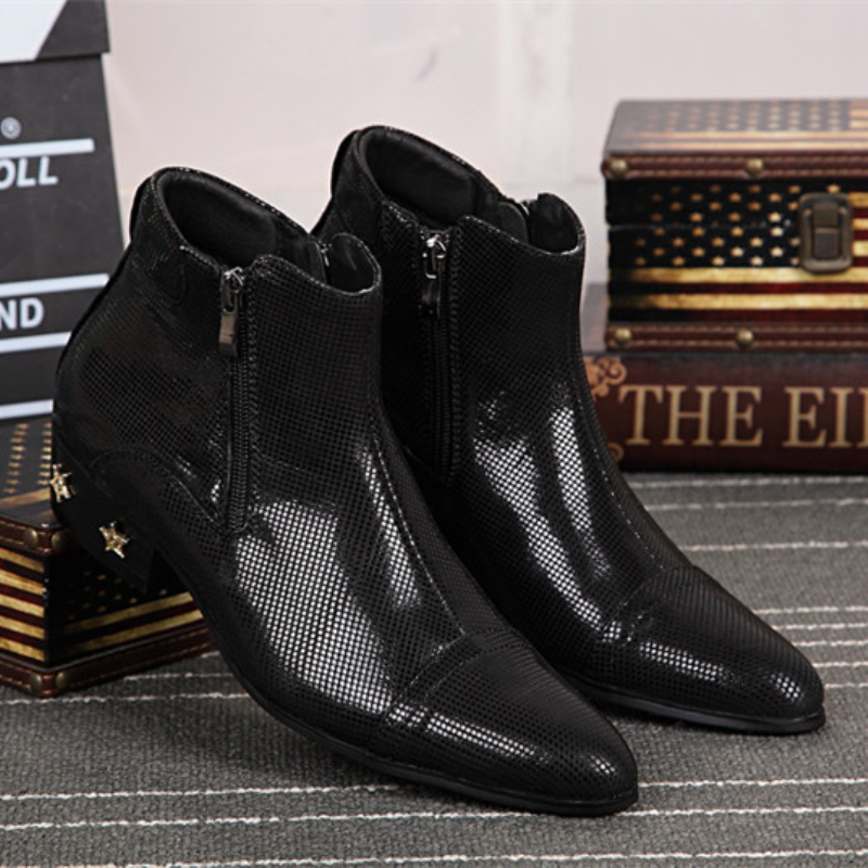 Christia Bella Fashion Italian Formal Men Dress Shoes Wedding Genuine Leather Men Ankle Boots Black Winter Motorcycle Boots