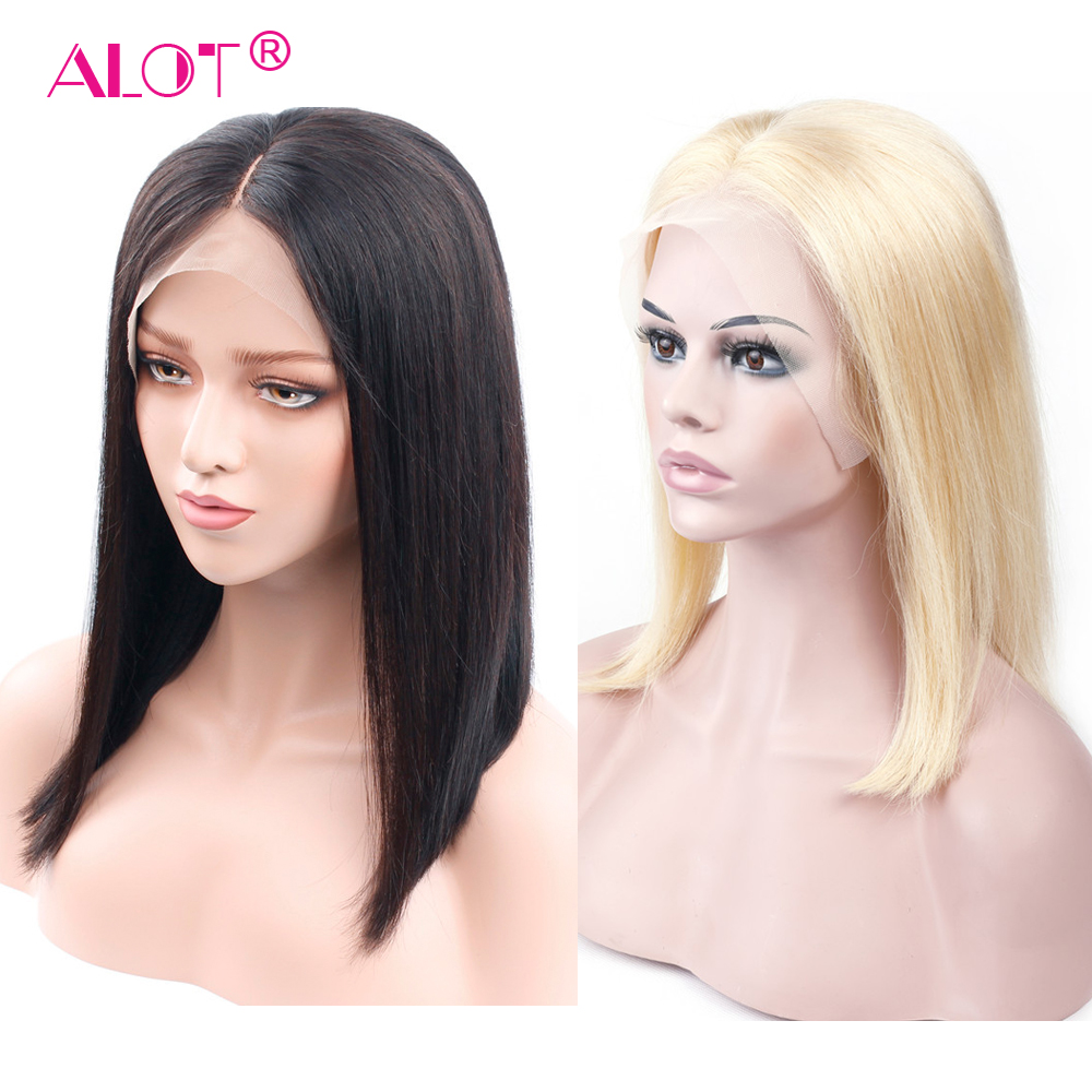 613 Blonde Lace Front Bob Wigs Straight Brazilian Short Bob Wigs Natural Black For Women Remy Pre Plucked Lace Frontal ALot Hair image