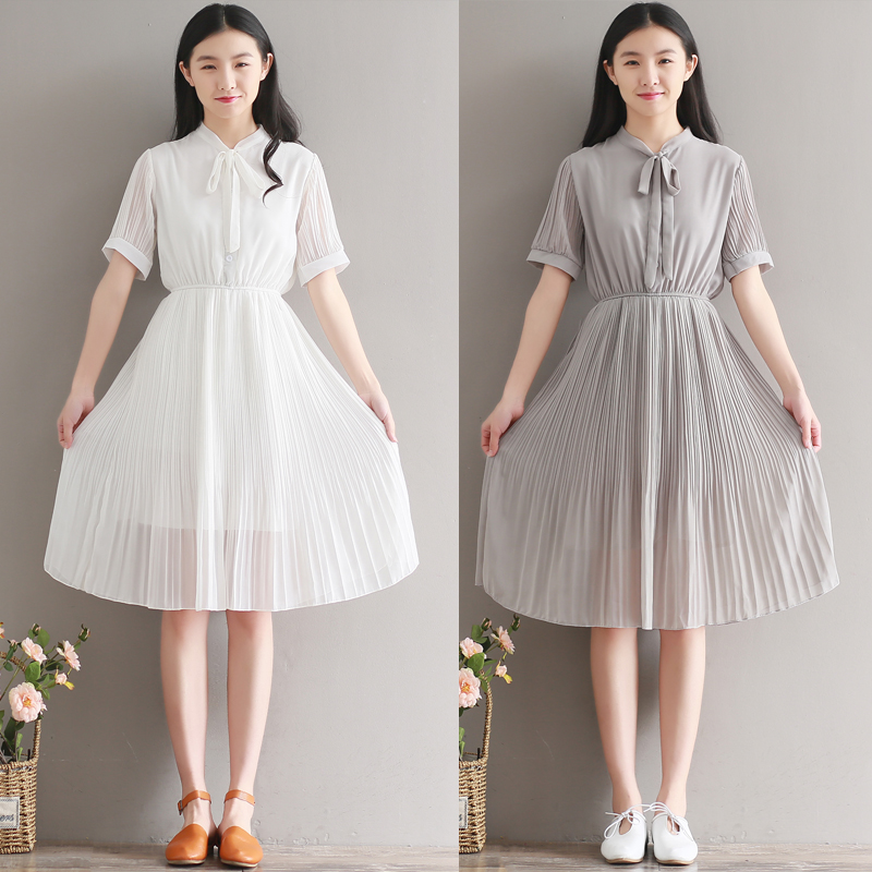 e64a663e24 2017 Summer New Korean Preppy Style Women Dresses Pleated Midi Dress  Chiffon Bow Dress Artistic Casual Dress-in Dresses from Women s Clothing on  ...