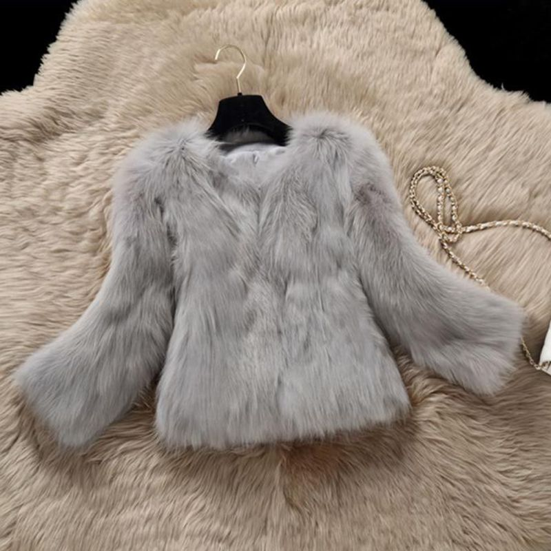 Winter O Neck Slim Coat Faux Fur Warm Female Outerwear Solid Three Quarter Sleeve Jacket 2018