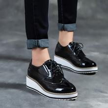 Brand Black Bright Patent Leather Platform Casual Shoes Woman Point-Toe Lace-Up Oxford Shoes New Withe Soles Bullock Shoes