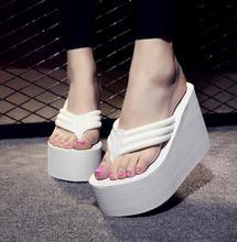 Frauen Mode Sommer Chunky Sole Keile Heels Flip-Flops Casual Schuhe Neue Ankunft Wasserdichte Taiwan Sexy Lady Sandalen 20170106