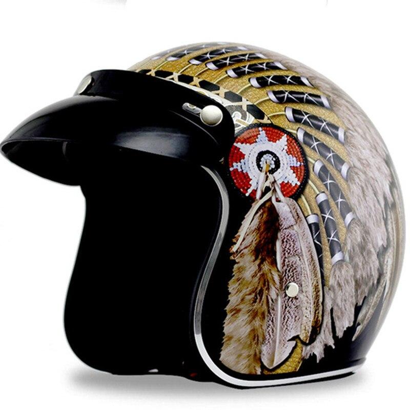 Livraison gratuite indien Harley casques 3/4 moto Chopper casque de vélo visage ouvert vintage moto casque avec bord du soleil