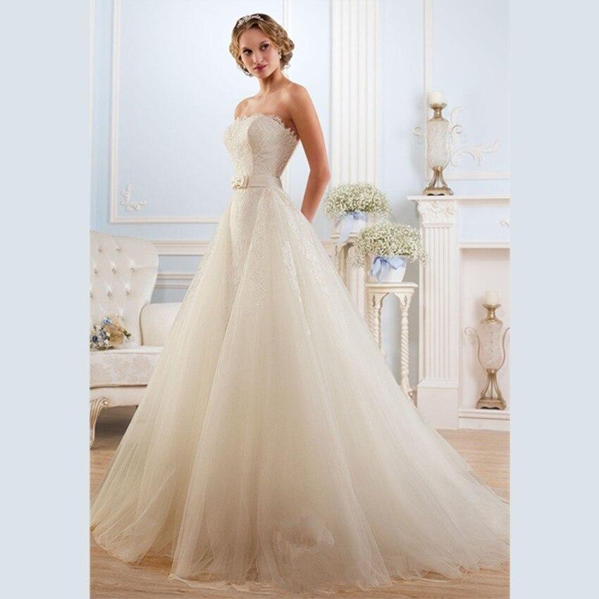 Vestido De Novia 2015 Elegant White Organza Wedding