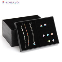 Fashion Suede Stud Earrings Ring Jewelry Display Organizer Jewelry Box Case Jewelry Casket Rack For Ring