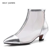 Купить с кэшбэком 2018 Autumn Luxury Brand Ankle Boots For Women Shoes Genuine Leather Europe Wind Net Yarn Square Heel Shoes Women Zapatos Mujer