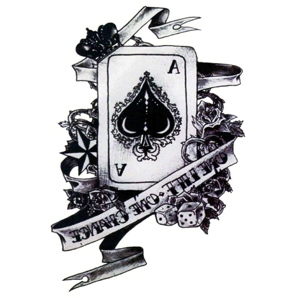 Yeeech Temporary Tattoos Sticker for Men Women Arm Leg Spades A Poker Dice Ribbon Designs Fake Long Lasting Body Art Waterproof