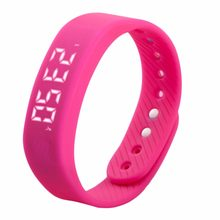 3D T5 LED Trends Sports Gauge Fitness Smart Step Calories Health Tracker Pedometer Watch Silicone Band Gym Wristband(China)