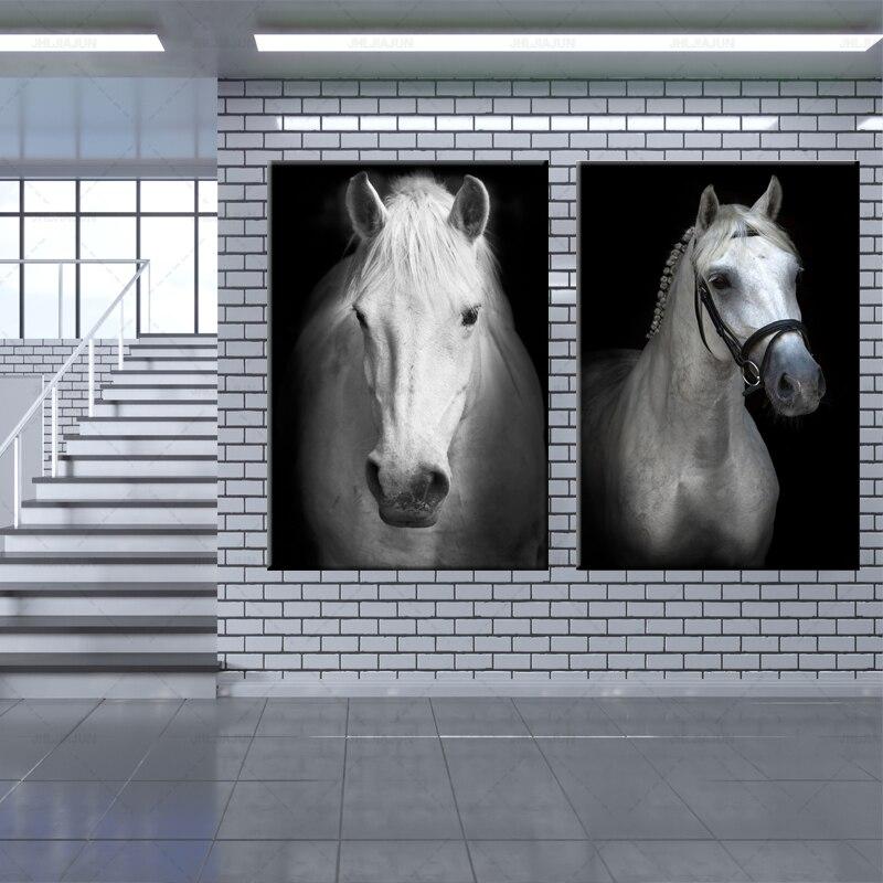 Art moderne Animal blanc cheval noir et blanc photo mur Art toile affiche murale photo pour salon moderne décor à la maison - 2