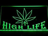 403 Hemp Leaf High Life Bar LED Neon Sign with On/Off Switch 20+ Colors 5 Sizes to choose