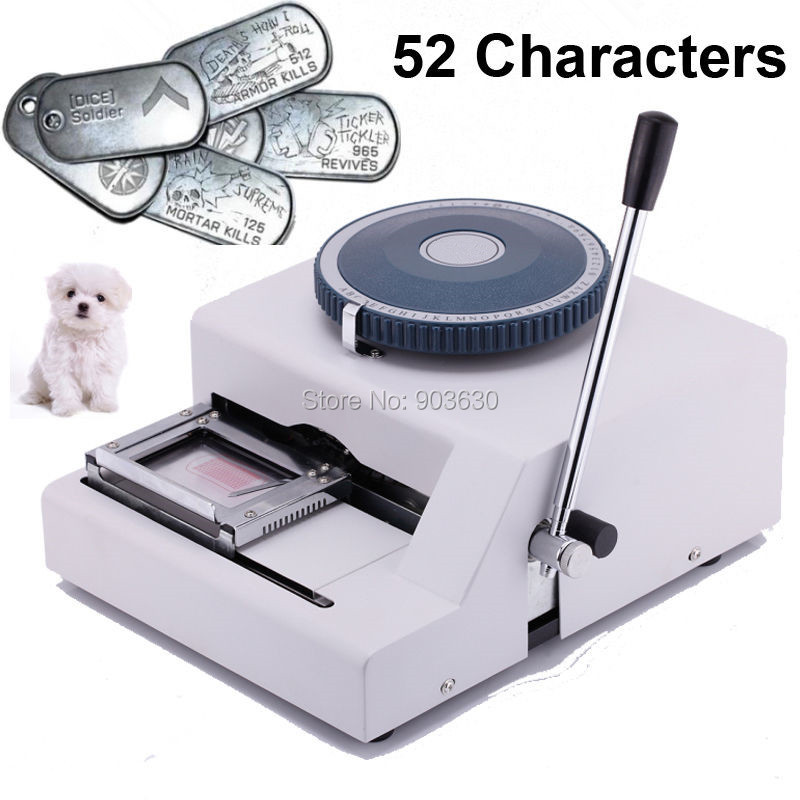 Free Shipping!52D Manual PET ID tag Embosser Machine for military dog tag metal steel embossing press machine wonder52Characters manual metal bending machine press brake for making metal model diy s n 20012