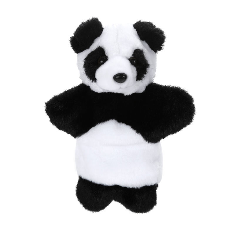 Hand Puppet Black and White Cartoon Animals Panda Hand Puppet Baby Kids Early Teaching Plush Toys Dolls for Children Gift