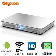 Gigxon P9 мини-проектор DLP 1920x1080P Max 4K Поддержка 200 Ansi Android 7,1 8 Гб rom 3D HD wifi Proyector портативный видеопроектор