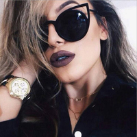 MADELINY High Quality Fashion Women Sunglasses Cat Eye Mirror Glasses Metal Frame Cat Eye Sun Glasses