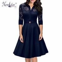 Nemidor 2018 Hot Sales Women 3/4 Sleeve Vintage A line Swing Dress Elegant Hollow Out Turn down Collar Party Midi Lace Dress