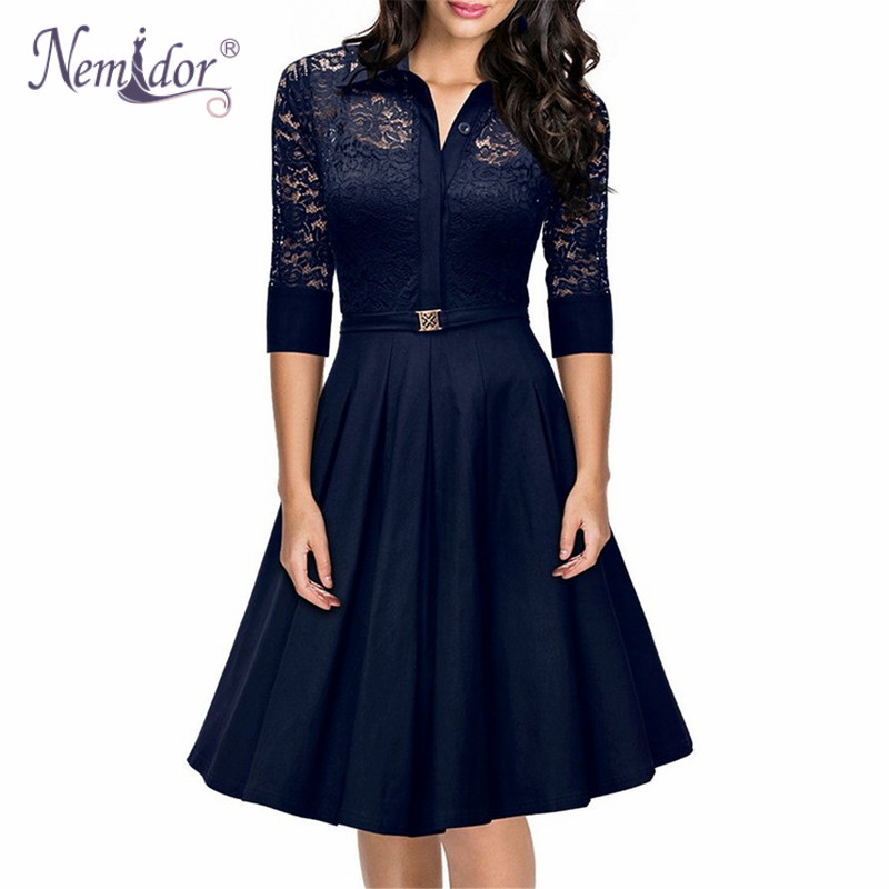Nemidor 2018 Hot Sales Women A-line 3/4 Sleeve Casual Swing Dress Elegant Hollow Out Turn-down Collar Retro Midi Lace Dress ...