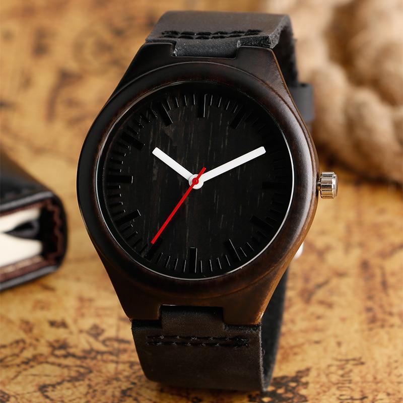 Hűvös, sötétbarna fából készült óra fekete valódi bőr - Férfi órák