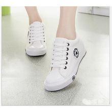 Женские холщовые туфли на танкетке дышащие шнуровке спортивная