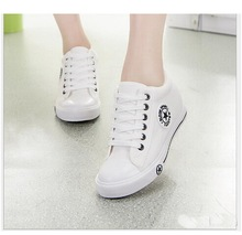 Spring/summer Newest Women Fashion Canvas Wedges Shoes Sport Breathable Lace-Up Women Wedges Shoes Size 35~40