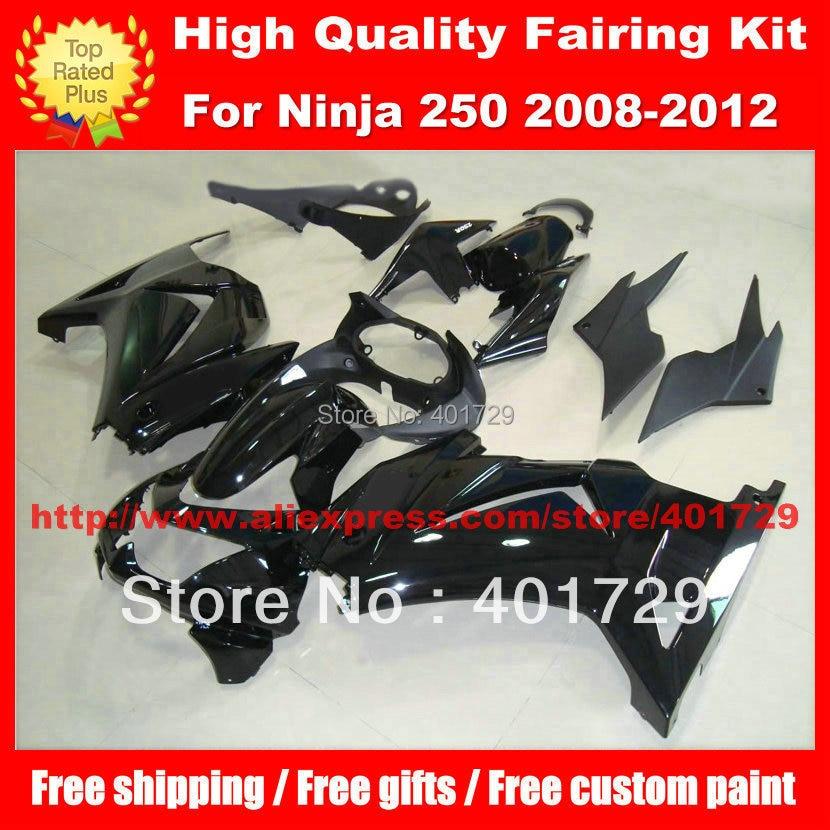 custom paint fairing set for Kawasaki Ninja 250R EX250 ZX 250R 2008 2009 2010 2011 2012 08 09 10 11 12 black body work